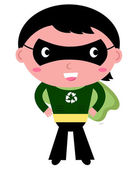 Cute recycle Superhero boy isolated on white