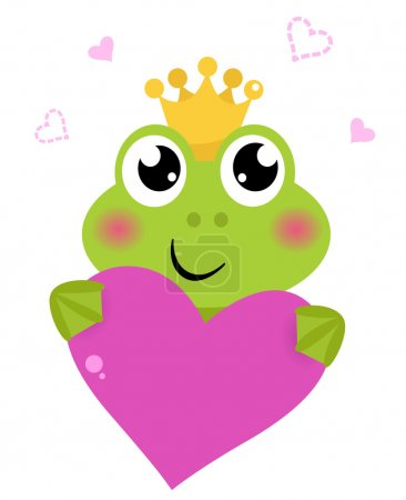 Funny frog for Valentine's Day. Vector cartoon Ill...