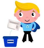 Cute recycle superhero boy separating garbage