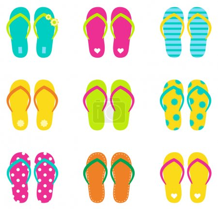 Summer flip flops set isolated on white