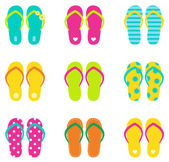 Colorful summer flip flops collection isolated on white Vector