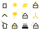 Passive house icons isolated on white ( black  yellow )