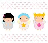 Kawaii Christmas Angels set isolated on white