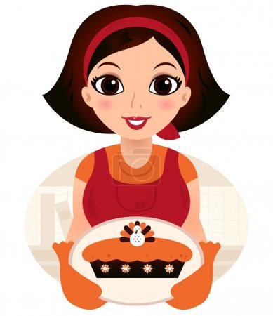 Illustration pour Cuisine vintage Femme. Illustration vectorielle - image libre de droit