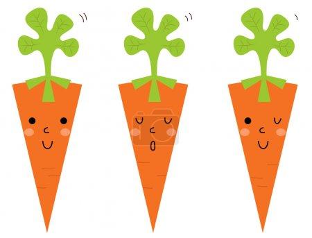 Illustration pour Cute Carrot collection de dessins animés. Illustration vectorielle - image libre de droit