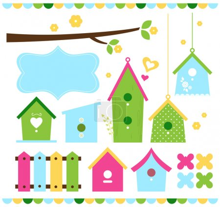 Illustration for Beautiful colorful spring bird houses. Vector Illustratio - Royalty Free Image