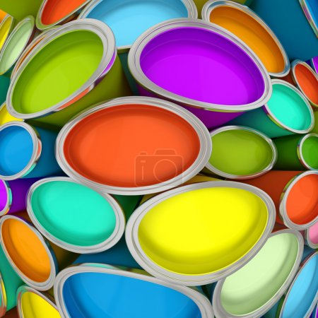 Banks of multicolored paint 2