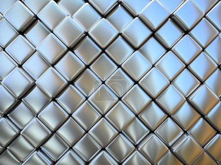 Abstract pattern of rhombus metal pieces