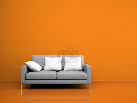Photo for Modern grey sofa on the orange wall illustration - Royalty Free Image
