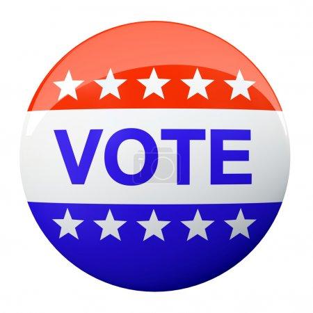 Photo pour Bouton de vote américain isolé sur l'illustration de fond - image libre de droit