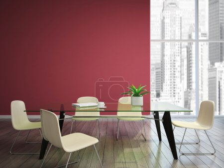 Photo pour Salle à manger avec murs bordeaux - image libre de droit