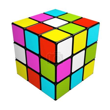 Puzzle cube isolated on white background