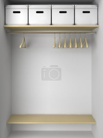 Photo for Empty wardrobe with hangers and boxes illustration - Royalty Free Image