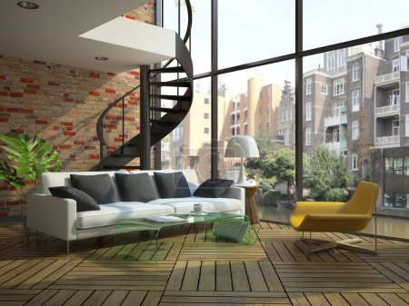 Photo for Modern loft interior with part of second floor. Photo outside was made by me.I have original - Royalty Free Image