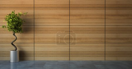 Photo for Empty room with wood wall 3D - Royalty Free Image