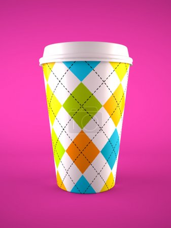 Photo for Coffee cup isolated on purple background - Royalty Free Image