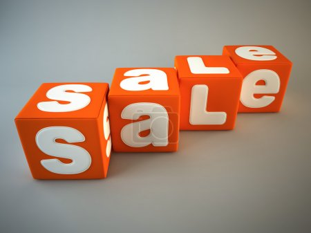 Sale word on orange fabric cubes 3D