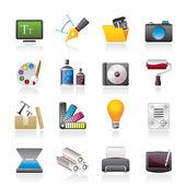 Icone del design grafico e sito Web