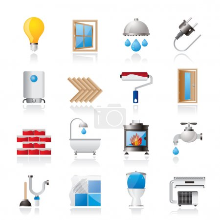 Illustration for Construction and home renovation icons - vector icon set - Royalty Free Image