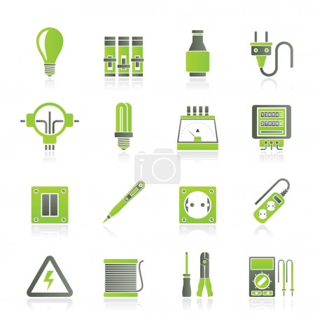 Illustration for Electrical devices and equipment icons - vector icon set - Royalty Free Image