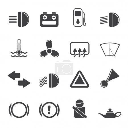 Illustration pour Tableau de bord voiture Silhouette - ensemble d'icônes vectorielles simples - image libre de droit