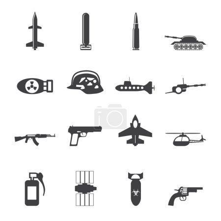 Illustration pour Silhouette Arme simple, armes et icônes de guerre - Ensemble d'icônes vectorielles - image libre de droit