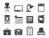 Silueta jednoduché obchodních, kancelářských a pevné ikony