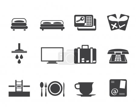 Illustration for Silhouette Hotel and motel icons - Vector icon Set - Royalty Free Image