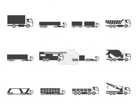 Silhouette different types of trucks and lorries icons