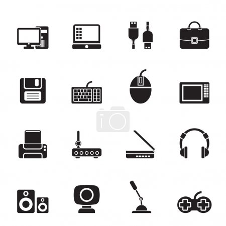 Illustration for Silhouette Computer equipment and periphery icons - vector icon set - Royalty Free Image