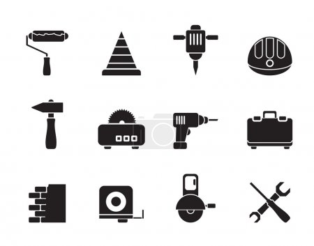 Illustration for Silhouette Building and Construction Tools icons - Vector Icon Set - Royalty Free Image
