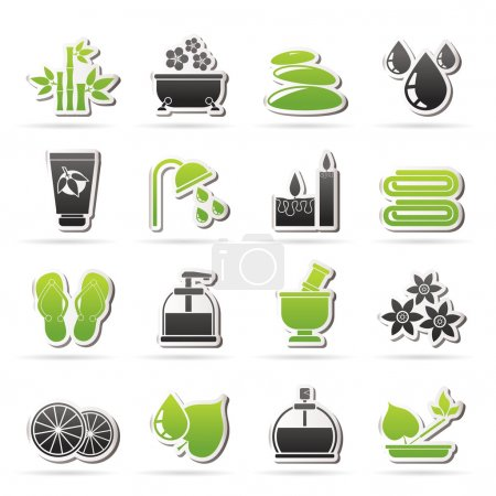 Illustration for Spa and relax objects icons - vector icon set - Royalty Free Image