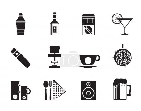 Silhouette Night club, bar and drink icons - vecto...