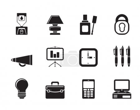 Illustration for Silhouette Business and office icons - vector icon set - Royalty Free Image