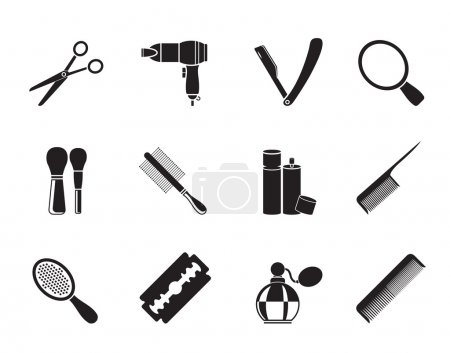 Silhouette cosmetic, make up and hairdressing icons