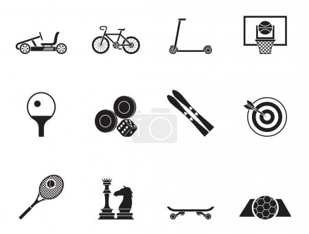 Silhouette sports equipment and objects icons