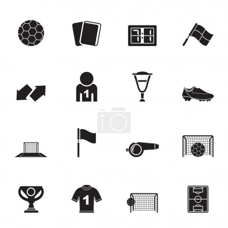 Silhouette football, soccer and sport icons