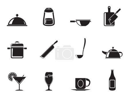 Photo pour Silhouette Restaurant, café, nourriture et boissons icônes - ensemble d'icônes vectorielles - image libre de droit