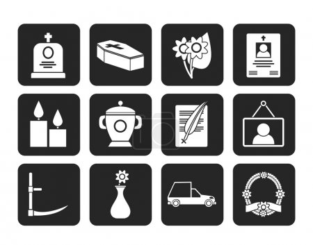 Silhouette funeral and burial icons