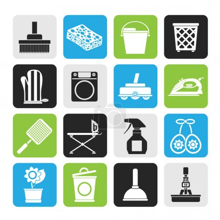 Illustration for Silhouette Household objects and tools icons - vector icon set - Royalty Free Image
