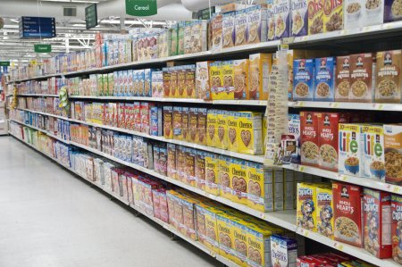 Grocery Store Cereal Shelves