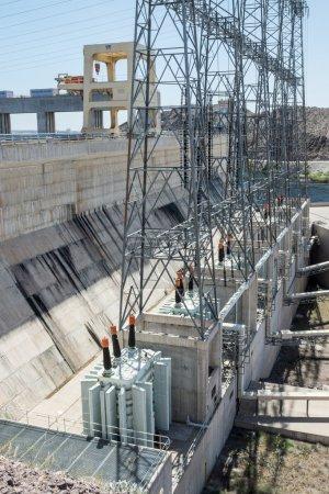Electrcal transformers at the Davis Dam downstreak...