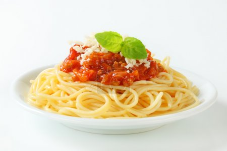 Photo for Spaghetti with meat-based tomato sauce and cheese - Royalty Free Image