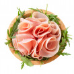 Sliced ham on nest of rocket salad