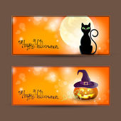Vector illustration of a set of halloween banners
