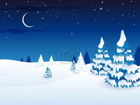 Illustration for Vector Illustration of a Winter Landscape - Royalty Free Image