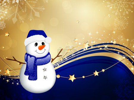 Illustration for Vector Illustration of a Christmas Background with a Small Snowman - Royalty Free Image