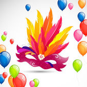 Vector Illustration of a Colorful Background with Carnival Mask and Balloons