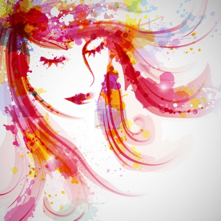 Vector Illustration of an Abstract Fashion Woman...
