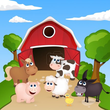 Illustration for Vector illustration of farm animals infront of a barn - Royalty Free Image